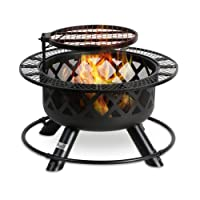 Deals on Bali Outdoors Wood Burning Fire Pit Backyard w/Cooking Grill