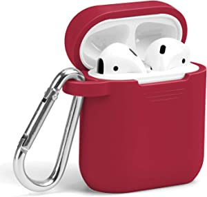 GMYLE AirPods Case with Keychain Silicone Protective Wireless Charging Airpods Earbuds Accessories Case Cover Skin with Keychain Set Compatible for Apple AirPods 2 & 1 – True Red…