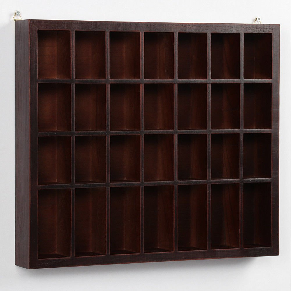Storage Wooden Display Cabinet Modern Shelves Wall Glass Case Box Collectibles with ebook