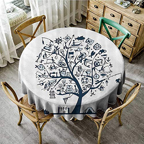 familytaste Circular Table Cover Washable Polyester Fishing Decor,Cute Tree of Life with Marine Objects Anchor Wind Rose Compass Reel Nature,Light Blue D 50