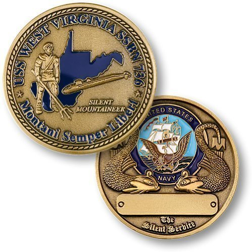 Northwest Territorial Mint SSBN-736 USS West Virginia Coin, 1 3/4 - Submarines Class Virginia Uss