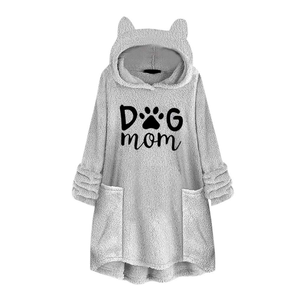 Women Fleece Embroidery Cat Ear Plus Size Super Warm Soft Loose Hooded Long Sleeve Tops Sweater Blouse Pullover Sweatshirt with Pockets by QQ1980s
