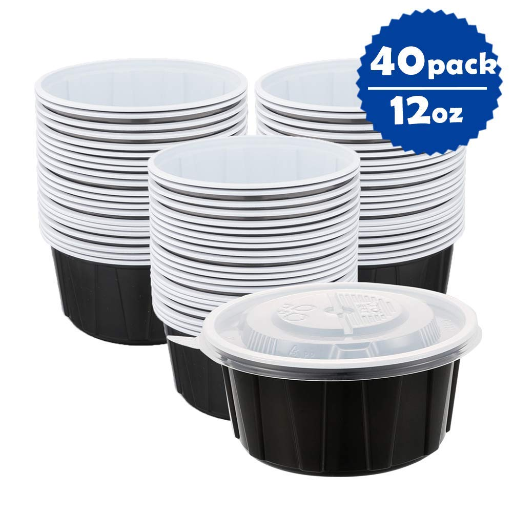 OTOR 12oz Round Food Saver Container with Airtight Clear Lids, Double Plastic Composite BPA Free, Reusable or Disposable, Dishwasher, Microwave & Freezer Safe 40 Sets