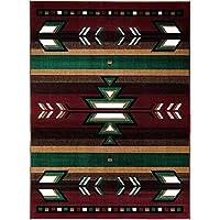 "Southwest Southwestern Native American Indian Modern Arrows Area Rug Carpet Burgundy (5' 3"" X 7' 5"")"
