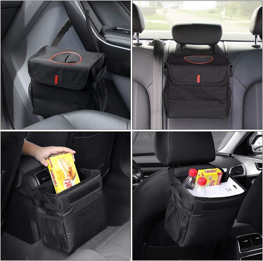 HAITRAL Auto M/ülleimer Faltbar Wasserdicht Auslaufsicher Nylon Auto M/üllbeutel mit Deckel und Seitentaschen Auto M/üll Organizer f/ür Auto SUV LKW Minivan Auto 300 Unzen