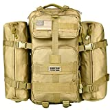 Tactical Backpack - Seibertron Falcon Water Repellent Hiking Camping Backpack Compact Pack Summit Bag Khaki 37L(1+2)