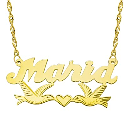 53d793157bb85a Pyramid Jewelry 14K Yellow Gold Personalized Name Plate Necklace - Style 11  (16 Inches,