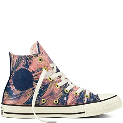 Converse Chuck Taylor All Star Hi Pale Coral Navy Womens Satin High top Trainers