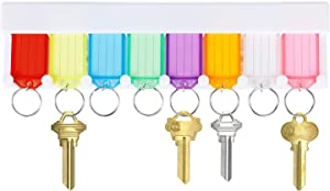 Uniclife Key Tag Rack with 8 Assorted Colors Tags Wall Mounted Key Holder White