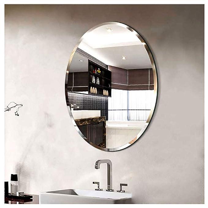 Specchio da Bagno Appeso a Parete Decorativo Specchio da Trucco Specchio da Barba Stile Moderno-Dorato WYJW Specchio da Parete Ovale 45x60 cm, 50x70 cm, 60x80 cm