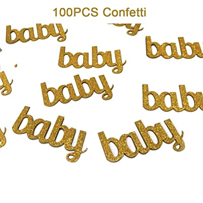 Woparty Litter Gold Baby Confetti Paper Table Confetti for Baby Showers Birthday Party Decorations Pack of 100: Toys & Games