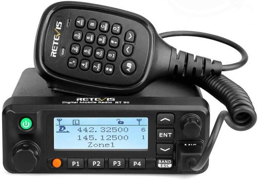 Retevis RT90 Mobile Radios Dual Band Digital Ham High Power VHF UHF Record 250 Zones 3000 CH 10000 Contacts DMR Amateur Mobile Radios for Cars 1 Pack