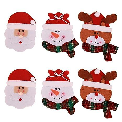 Tenrany Home Natale Cucina Posate, 6 PCS Natale Coltello Forchetta  Cucchiaio Borsa da Cucina Babbo Natale Argenteria Posate da Tavola Titolari  Tasche ...