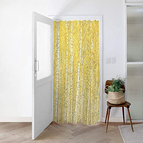 SANGSANGHOO Curtain Panel Golden Birch Trees Nature 55×79 Feng Shui Home Decoration for Living Room Bedroom