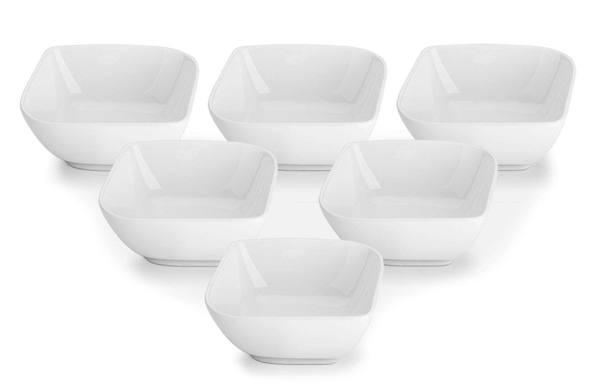 DOWAN 8oz Porcelain Ramekins/Dessert Bowls- Set of 6, White, Stylish Square
