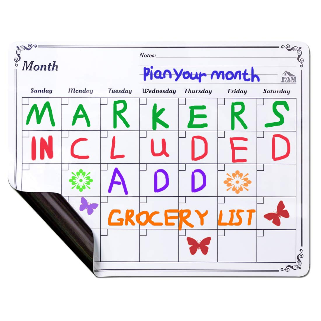 18X14 Monthly Planner Whiteboard Magnets Dry Erase Fridge Magnet Magnetic Calendar 2018 and 2019-Six Dry Erase Markers-A Grocery List for Post-it Notes and a Schedule. FAM STICKTILES