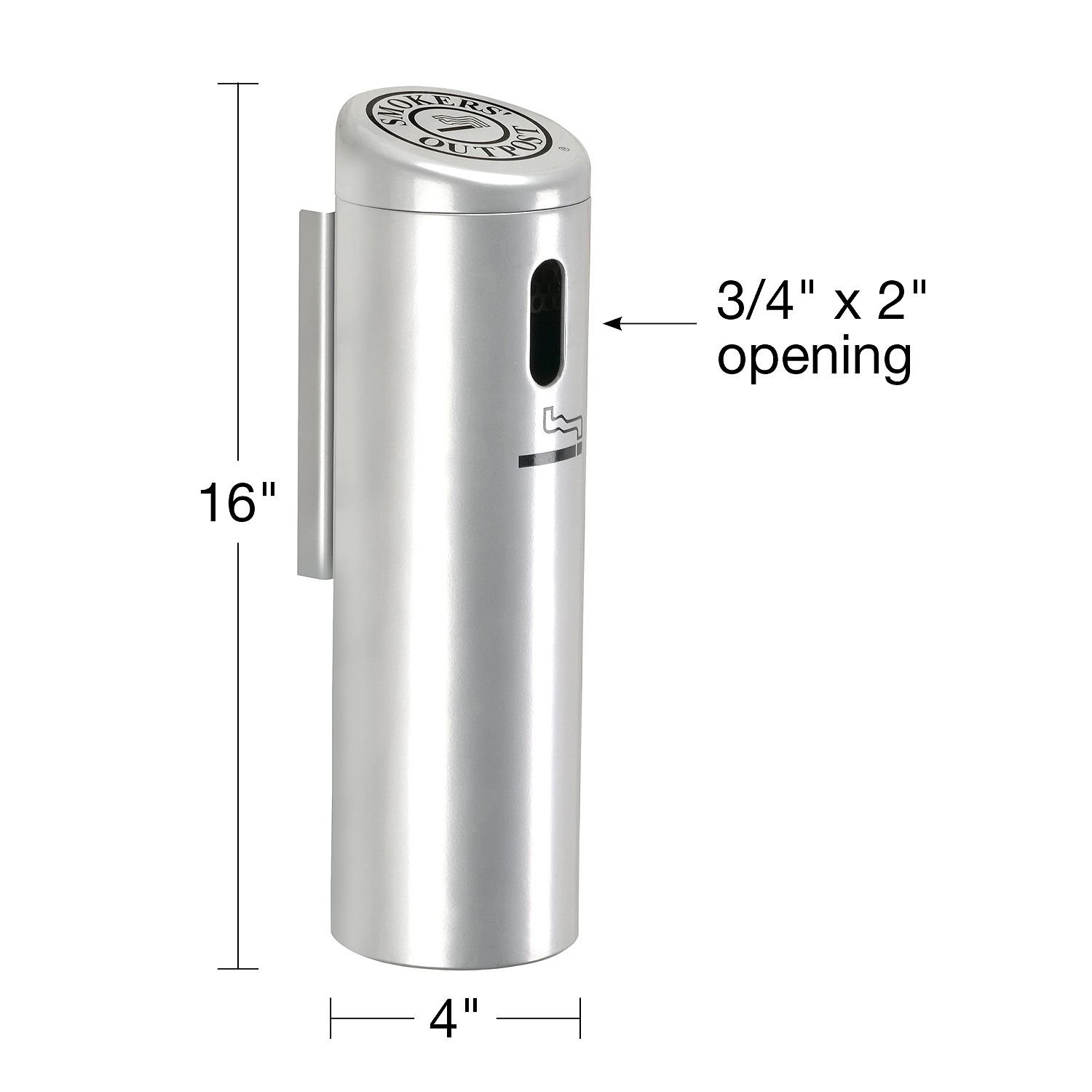 Swivel-Lock Hang on Wall Silver Smoker's Pole Cigarette Receptacle