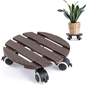Skelang Round Plant Caddy 11.5 Inches, Planter Cart with Brake Casters, Wood Plastic Plant Pallet for Moving Potted Plant, Garden Deck Planter, Load Capacity 260 LB