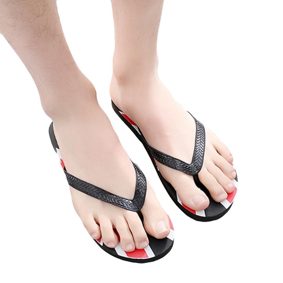 yjydadaメンズFlagアンチSkidding Flip Flopsスリッパサンダルビーチ靴Independence Day B07CZ6HMM8 40|ブラック ブラック 40