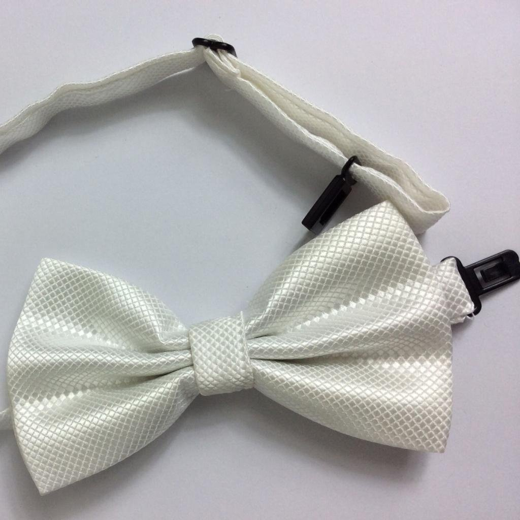 CHJ/&Q Mens Formal Solid Royal Satin White Bow Tie