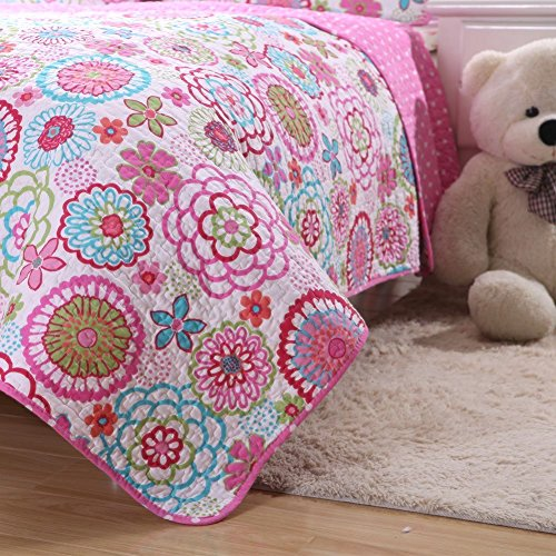 Cover Newport Set Duvet (Jasmine Girl's Colorful Twin Quilt Set - Bright Bohemian Multi Colored Whimsical Flowers Fuchsia Red Blue Green - Fun Boho Floral Blooming Daisy Print Pink and White Polka Dot Reverse - 2 Piece)
