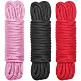 BONTIME All-Purpose Soft Cotton Rope - 32 Feet Length,1/3-Inch Diameter(Black,Red,Pink,Pack of 3)