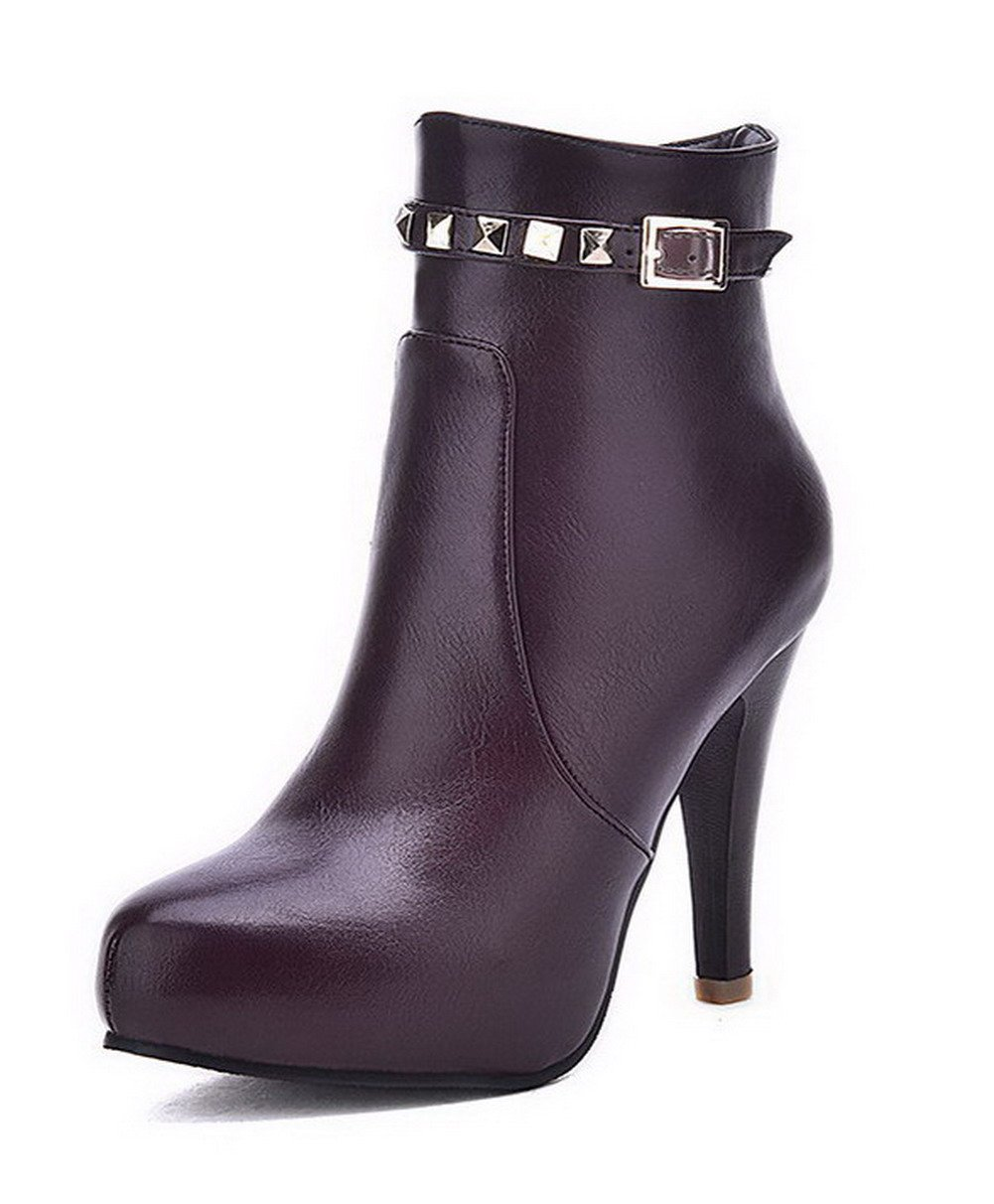 AllhqFashion Women's High-Heels Soft Material Low-Top Solid Zipper Boots with Rivet, Purple, 41