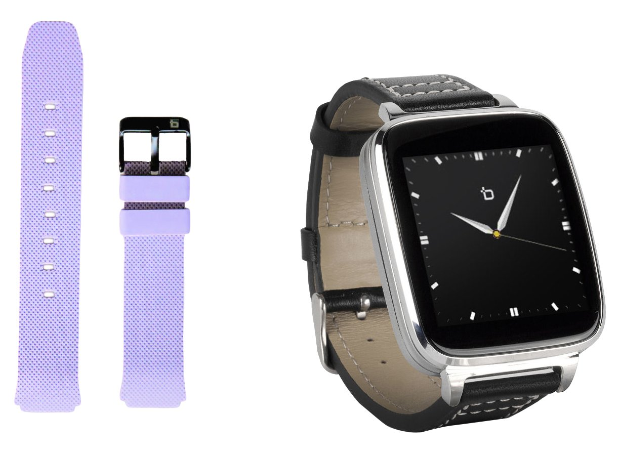 CDM product Beantech Smart Watch for Apple/Android Devices. Silver with Leather Strap. Bonus ash Purple Sports Strap. big image