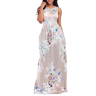 eabf913a2d2 Lamolory Women s Maxi Dress Floral Printed Summer Sleeveless Casual Tunic Long  Maxi Dress (Beige