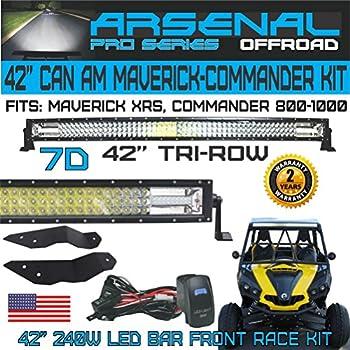 No.1 7D 42 inch Tri-Row Straight Pro Optics Light Bar Kit for Can Am Maverick XRS Commander 800 1000, 7D=648W 64,800LM 7D Spot Flood combo beam, ...