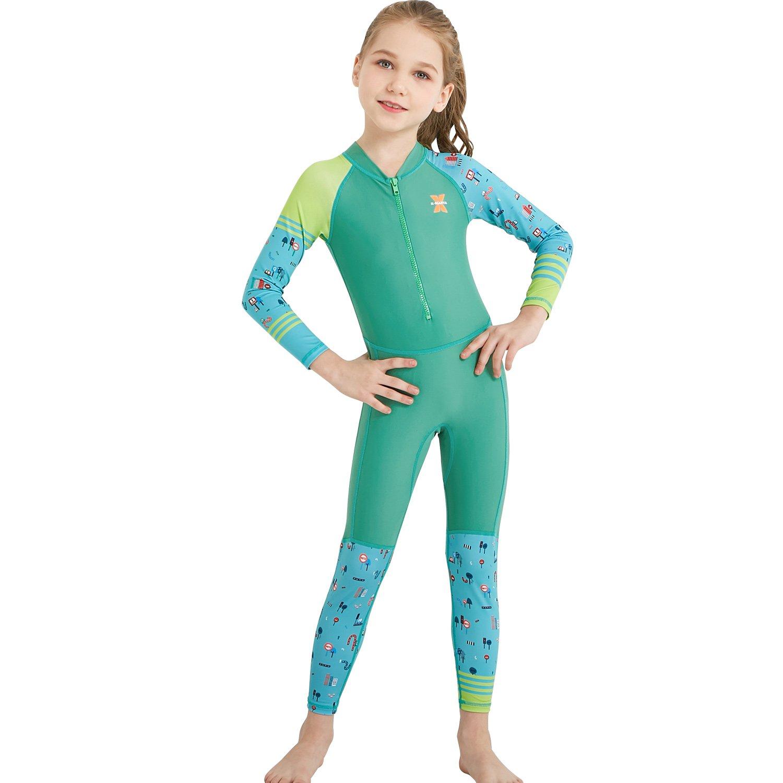 ダークLightning子供用ウェットスーツ、2 mmネオプレン熱水着、One Piece Wet Suits For釣り、スキューバダイビングダイビング、サーフィン、子供ラッシュガードフルスーツ水着、男の子と女の子 B07GXVD5LF Girl's Fullsuit Lycra / Green Kids S size for toddlers Kids S size for toddlers|Girl's Fullsuit Lycra / Green