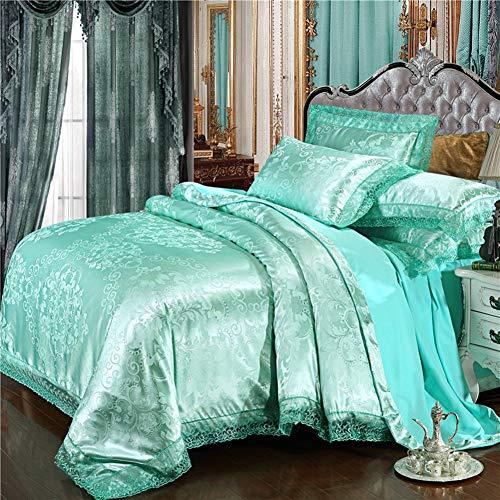 JLPAN Luxury Duvet Cover Sets Luxury Silk Satin Embroidery Tencel Cotton Blend Jacquard 4 Piece Bedding Sets / 4Pcs (1 Duvet Cover, 1 Flat Sheet, 2 Shams) Green,King