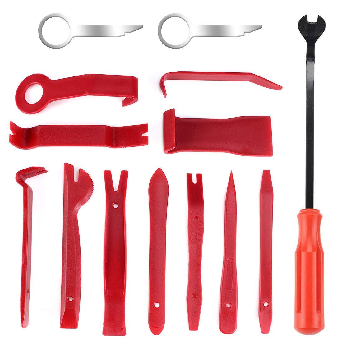 Auto Demontage Werkzeuge, Phyles 11 Stück Auto Zierleistenkeile-Set Automotive Reparatur Werkzeug Universal für Entfernung Autotür Türverkleidung und Platten, Rot