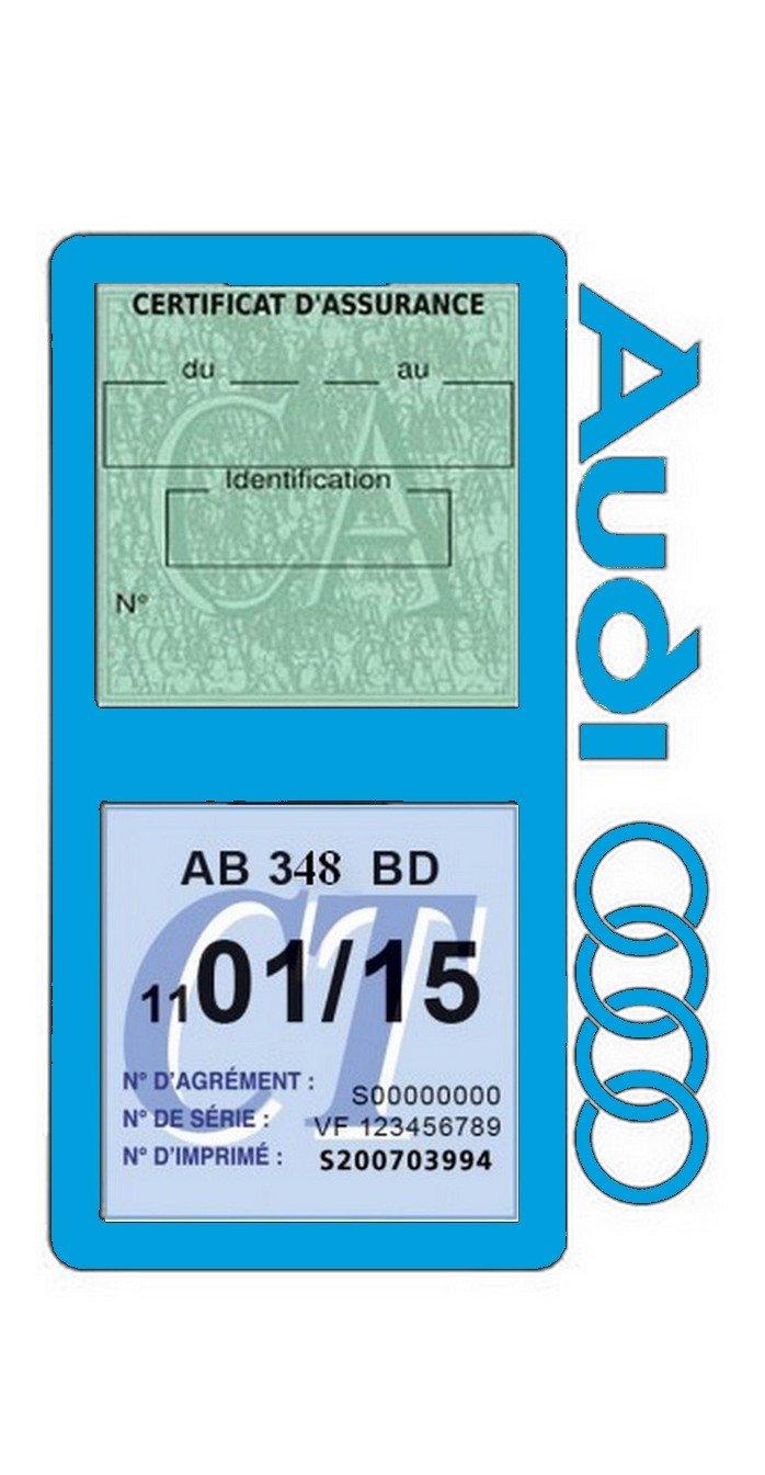 Gé né rique Etui Double Assurance Audi Porte Vignette Adhé sif Voiture Stickers Auto Ré tro (Bleu Clair) Générique