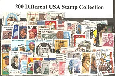 USA Collectible Postage Stamps: 200 Different USED USA Stamp Collection