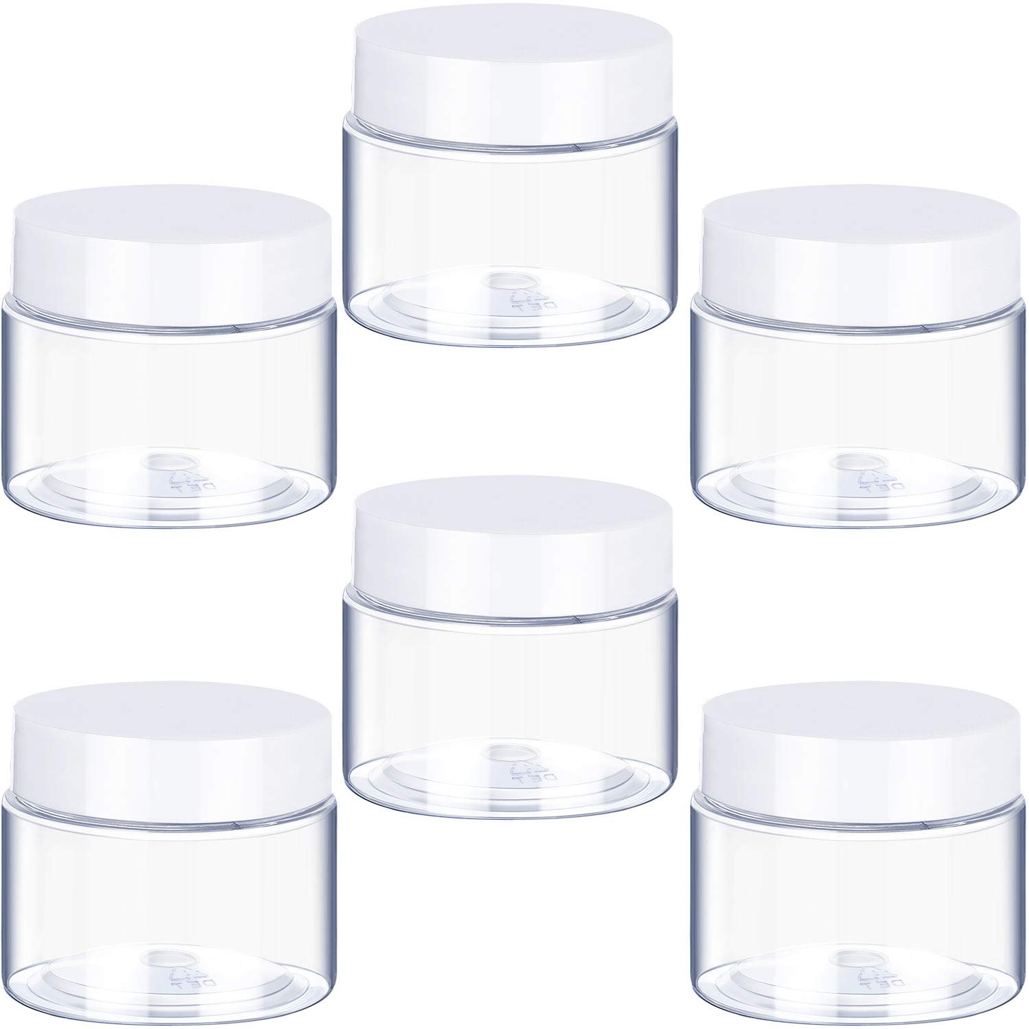 6 Pack 1 oz Plastic Pot Jars Round Clear Leak Proof Plastic Cosmetic Container Jars with White Lids for Travel Storage Make Up, Eye Shadow, Nails, Powder, Paint, Jewelry(1 oz)