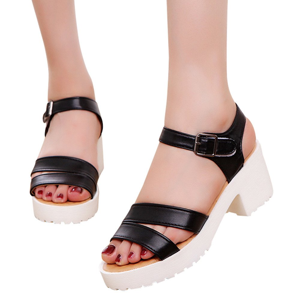 Shoes For Womens -Clearance Sale ,Farjing Women Outdoor Round Toe Platform High Heels Wedges Sandals Buckle Slope Shoes(US:5.5,Black)