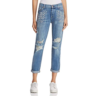 7 For All Mankind Women's Josefina Beaded Destroyed Boyfriend Jeans (Blue, 27): Clothing