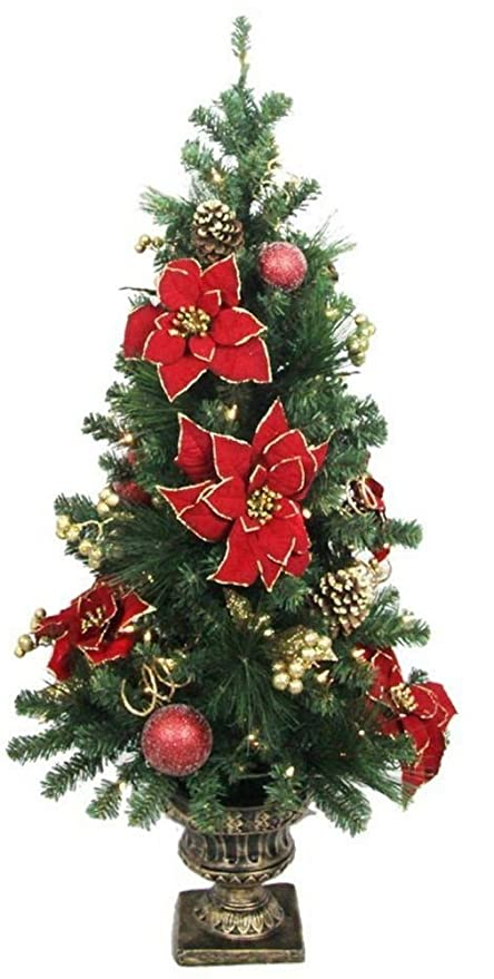 home accents holiday 4 ft poinsettia potted artificial christmas tree with 50 clear lights