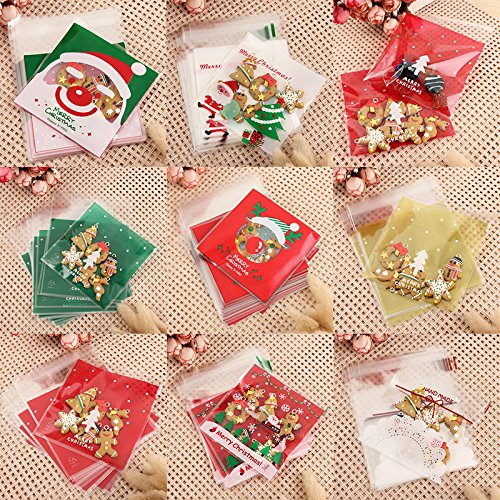 Saasiiyo 100Pcs Xmas Santa Cello Cellophane Cookie Storage Bag Peel Candy Treat Bags DIY Christmas Party Decorative (Santa Costumes For Rent)
