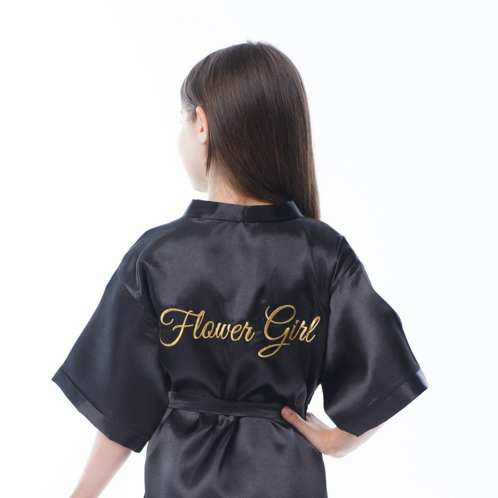 Satin Robe for Flower Girl with Gold Embroidery on The Back (Black - Flower Girl in Gold, Toddler, 2-4y)
