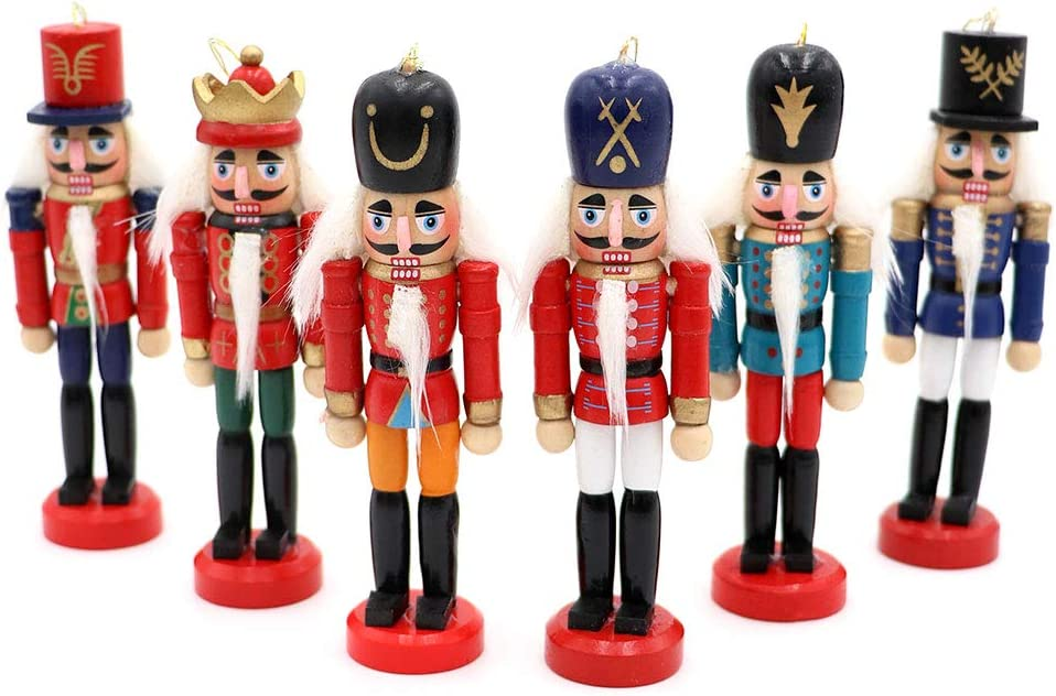 OurWarm 6Pcs Christmas Ornaments Wooden Figures Christmas Decorations for Xmas Tree, Table Decor