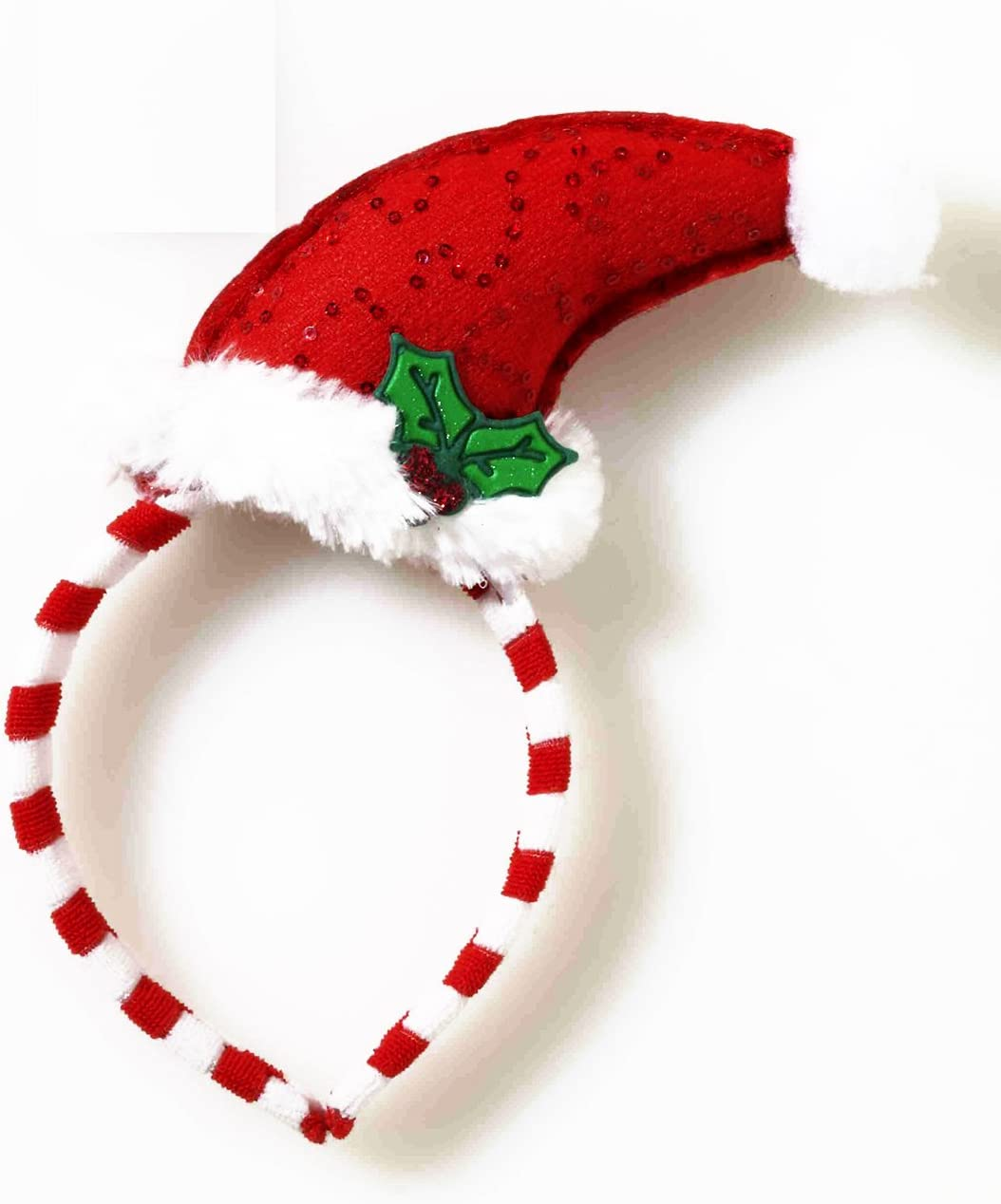 STRIPED MINI SANTA HAT HEADBAND Christmas Holiday Costume Party Adult 2-4A
