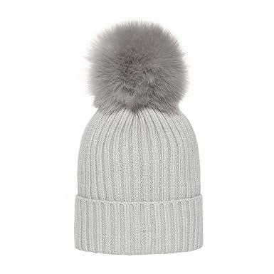 6d1c9721bb6 Amazon.com  TEFITI Winter Knit Beanie Hat with Faux Fur Ball Pompoms ...