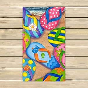 Custom Flip Flops,Slippers Art Hand Towel,Spa Towel,Beach Bath Towels,Bathroom Body Shower Towel Bath Wrap Size 16x28 inches