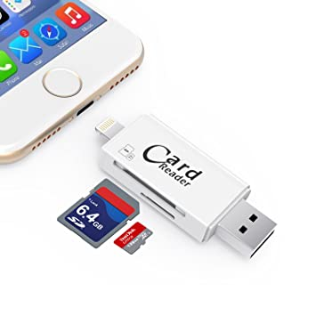 Kombrex SD TF Card Reader Micro USB OTG Connector, Combrex External Storage  Memory Expansion Max Support 128G iOS iPhone iPad Android Mac PC [White]:  Buy Kombrex SD TF Card Reader Micro USB