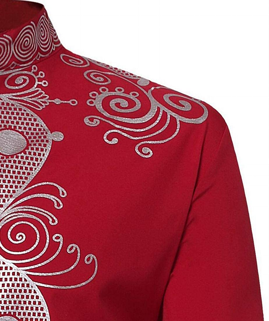 XiaoTianXinMen XTX Mens Stand Collar African Fribal Print Long Sleeve Button Up Shirt