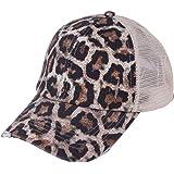 VECDUO Ponytail Criss Cross Messy Sun Hat, Unisex Baseball Cap Adjustable Trucker Mesh Hat Visor Cap Dad Hat