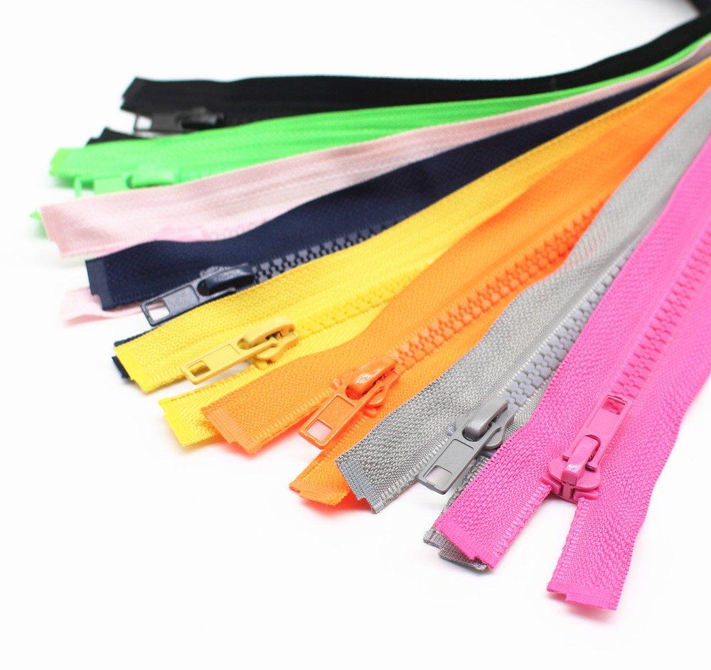 YaHoGa 10 pezzi 70 cm separare cerniere Chiusure lampo per Jacket cucire giacca plastica cerniere 10 colori misti (pezzo per ogni colore)