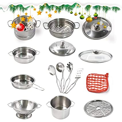 Luerme Utensilios de cocina Juguetes de acero inoxidable Ollas y sartenes Juego de cocina Juego de
